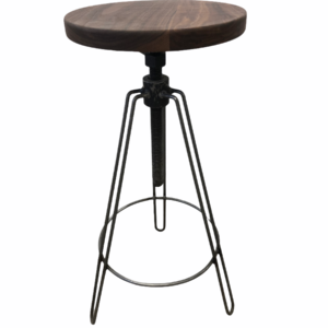 Wooden seated stool with three metal legs
