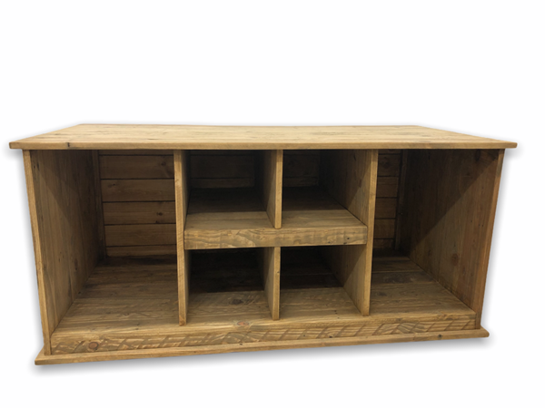 Six compartment wooden boot store